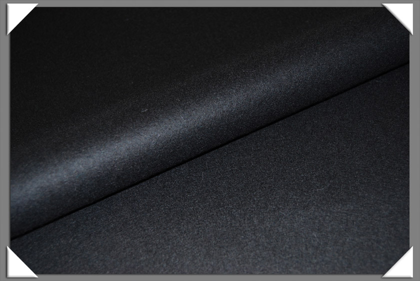 Black Wool/Nylon Melton Fabric