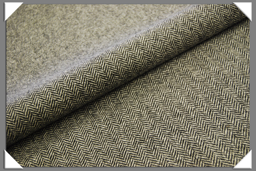 Black & White Herringbone Tweed Fabric