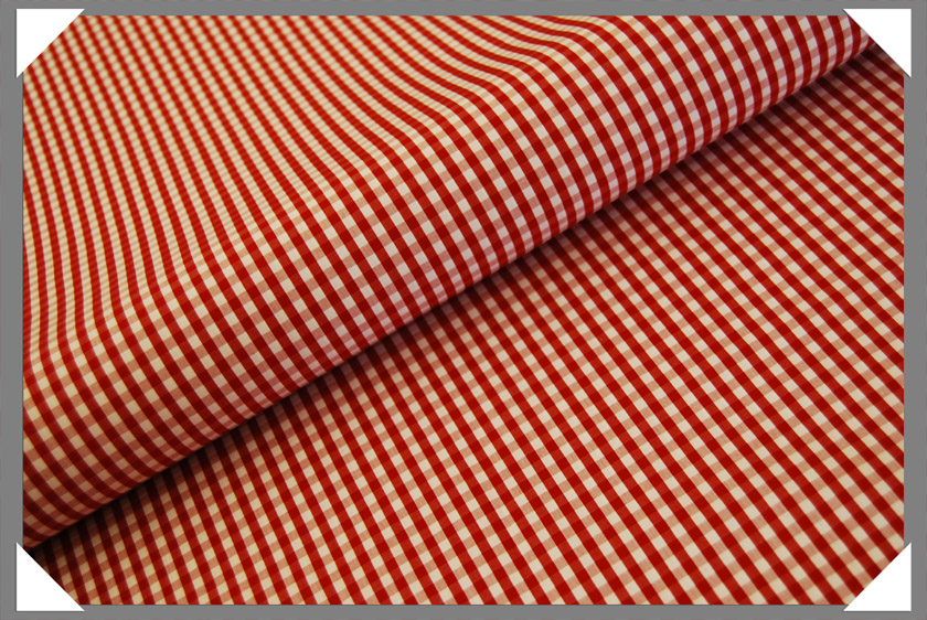Gingham Shirting Fabric - Red - Click Image to Close