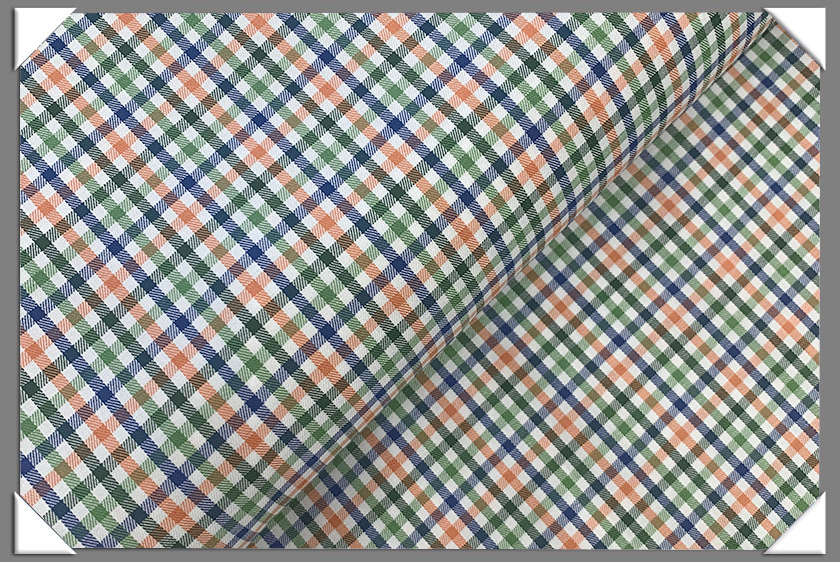 Green/Blue/Orange Check Shirting Fabric