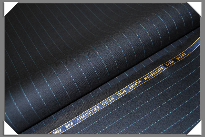 Blue Dotted Pinstripe Super 120's Fabric