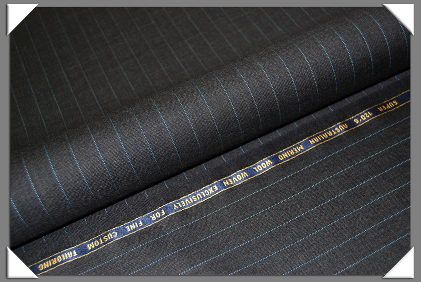 Charcoal Dotted Pinstripe Super 120's Fabric