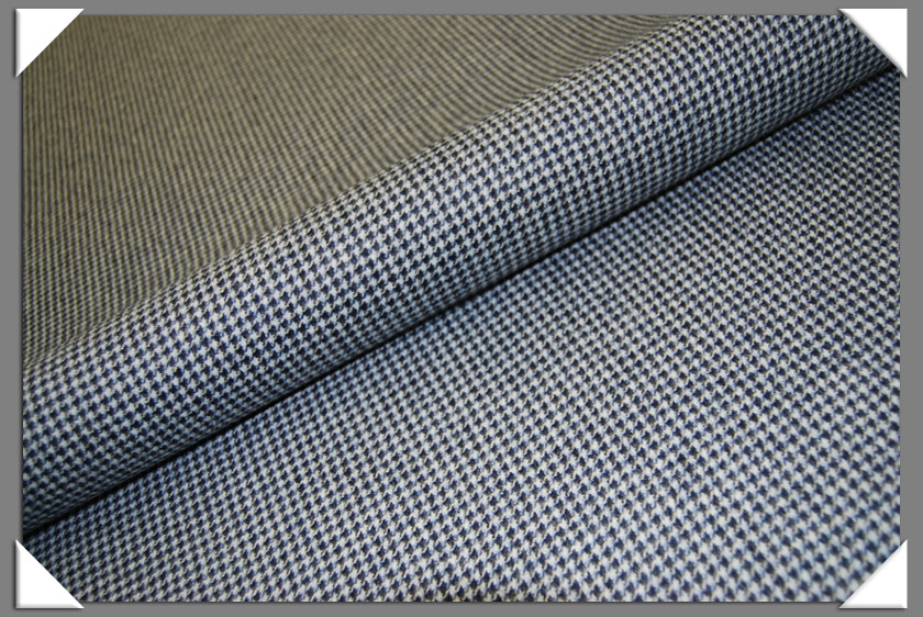 Camel Hair Fabric - Blue Houndstooth