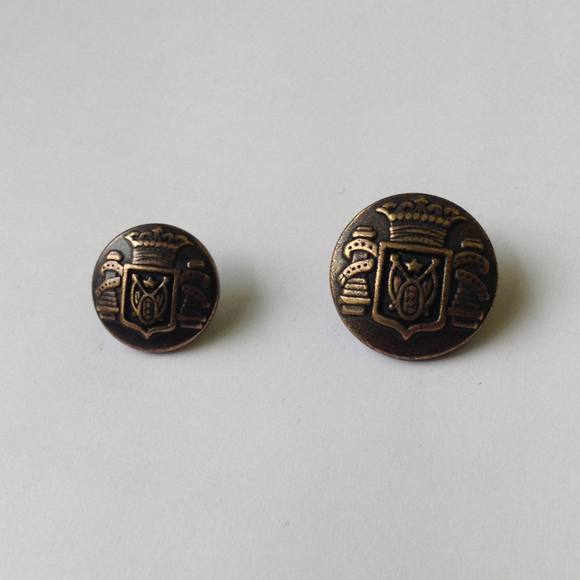 Antique Brass Crown & Crest Metal Button
