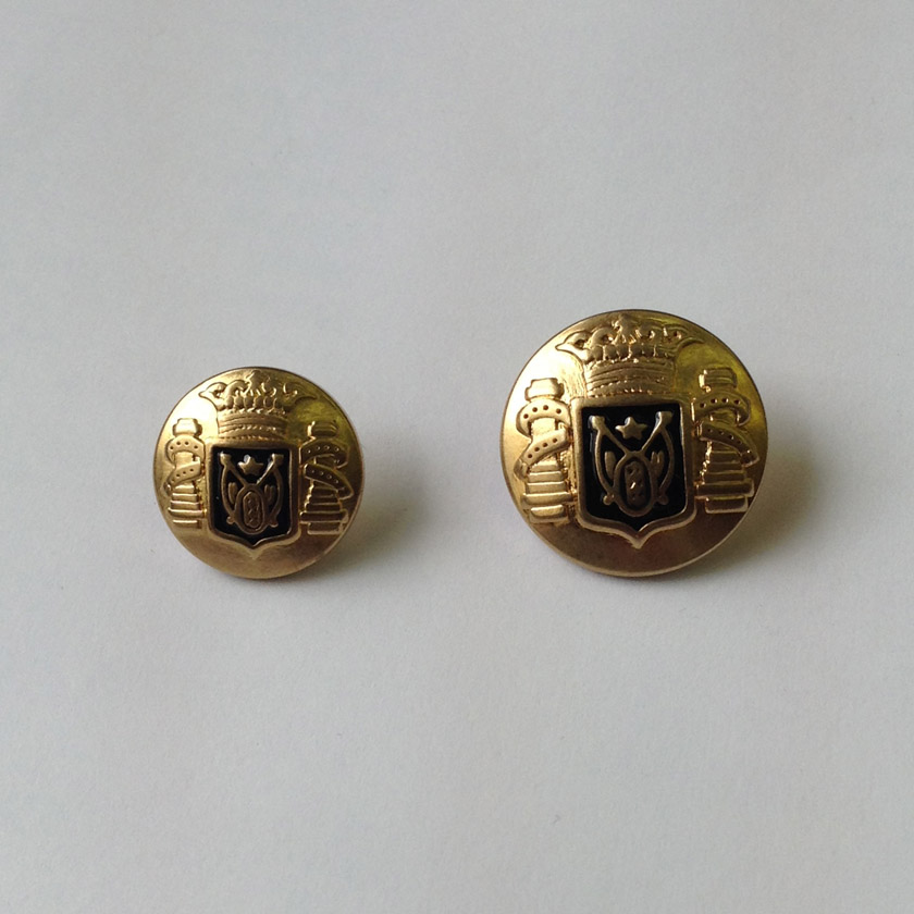 Gold Crown Navy Crest Metal Button