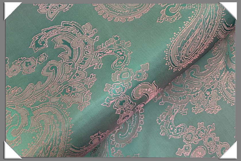 Teal Paisley Lining - Click Image to Close